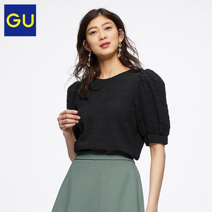 极优女装泡泡纱泡泡袖衬衫(5分袖)新款时尚减龄洋气上衣